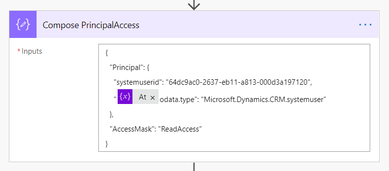 Compose step for PrincipalAccess JSON, user