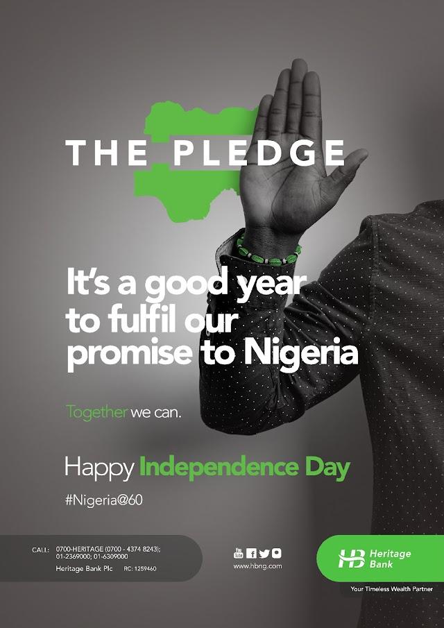 "Heritage Bank Joins In Celebration Of Nigeria @60…Rewards Nigerians for ""National Pledge"" pidgin recitation"