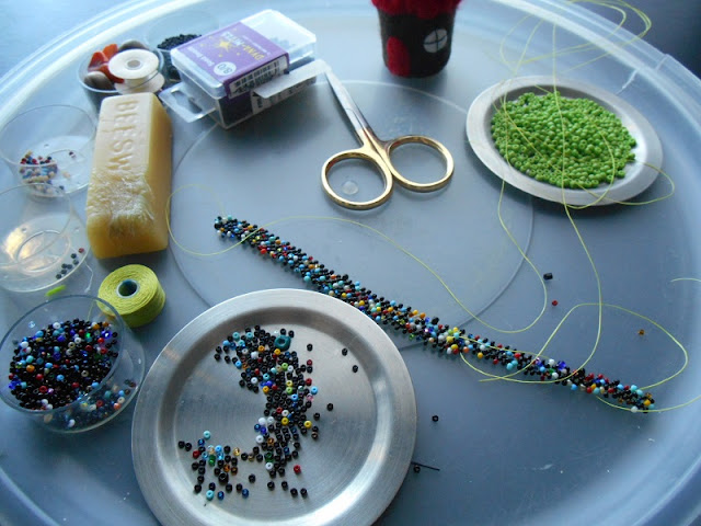 Mixed Bead Right Angle Weave in Progress