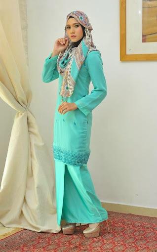 baju kurung moden turqoise cutting slim sulam baju raya 2014