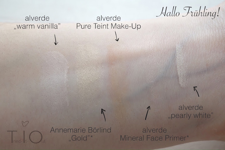 Swatches of warm vanilla by alverde, Gold from Annemarie Börlind, the pure complexion makeup of alverde, the mineral face Primer by alverde and pearly white of alverde.