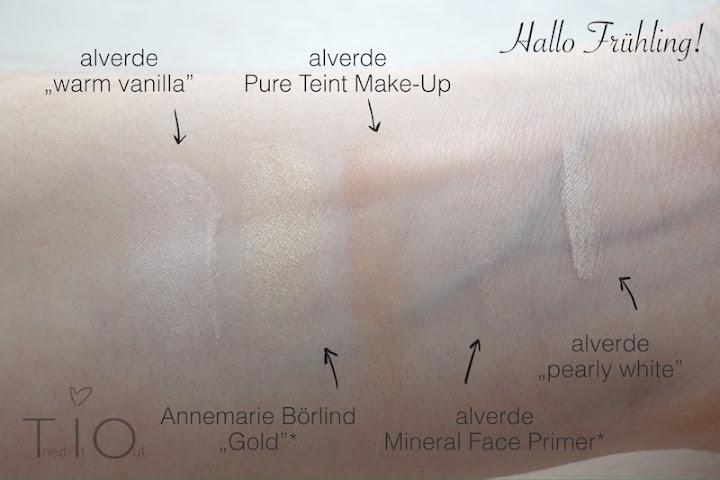 Swatches von warm vanilla von alverde, gold von Annemarie Börlind, dem Pure Teint Make-Up von alverde, dem Mineral Face Primer von alverde sowie pearly white von alverde.