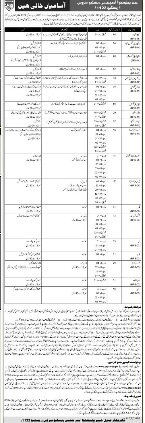 KPK Emergency Rescue Service (Rescue 1122) Jobs June 2021 (350 Posts)