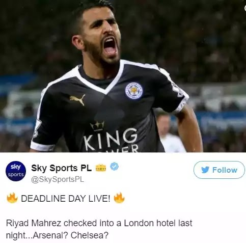 Signing for Arsenal or Chelsea? Mahrez Released from Algeria Camp, Arrives London to Complete Transfer