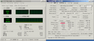 CPU交換後アイドル時でクロック数は1000MHz
