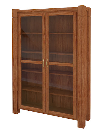 Phoenix Glass Door Bookshelf in Vermont Maple