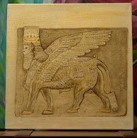 Babylon Sumerian Anunnaki Flying Gods Human headed winged bull