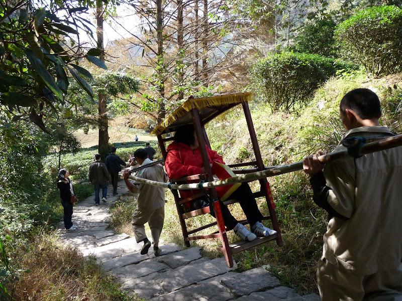 La chaise à porteur, en bambou, est ultra légère et souple.Cela doit être très confortable. Mais,30 euros le tour