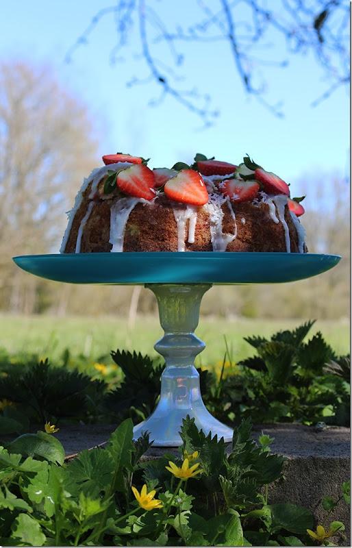 Tårtfatet med den färdiga kakan i profil med grönskande natur i bakgrunden.