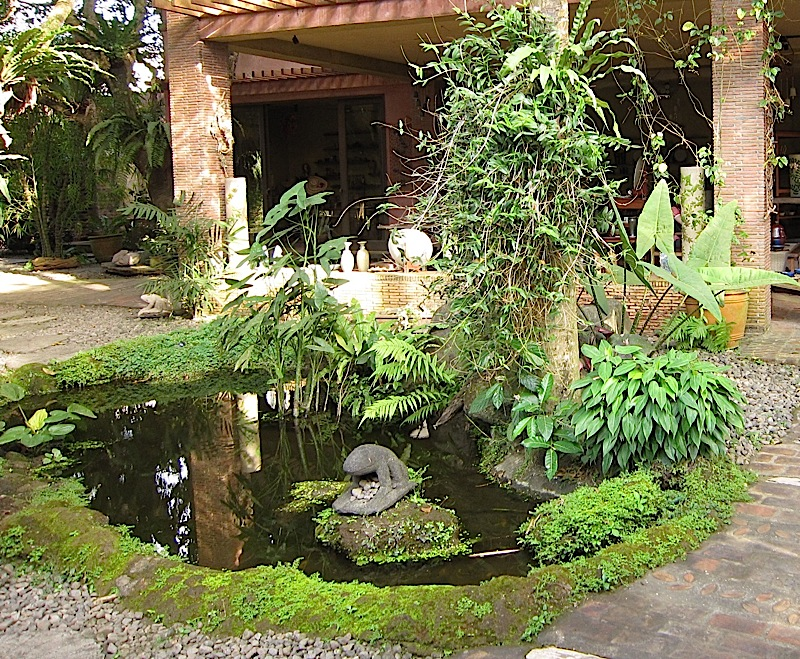 mossy pond with stone frog at Ugu Bigyan Potter's Garden