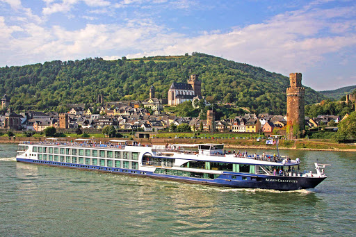 Avalon Creativity sails through a historic district in Germany on the Rhine River.