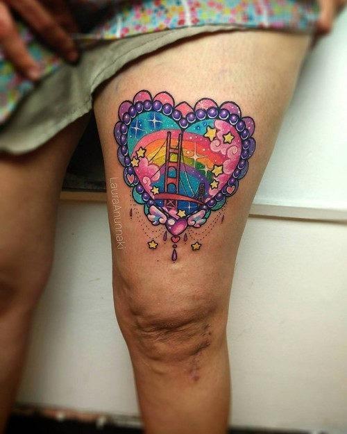 este_romntico_golden_gate_kawaii_tatuagem