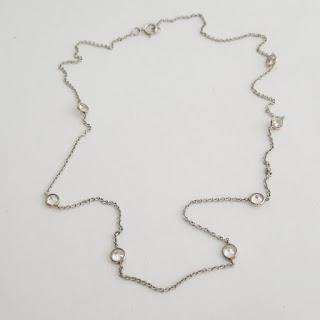 14K White Gold & Clear Stone Chain