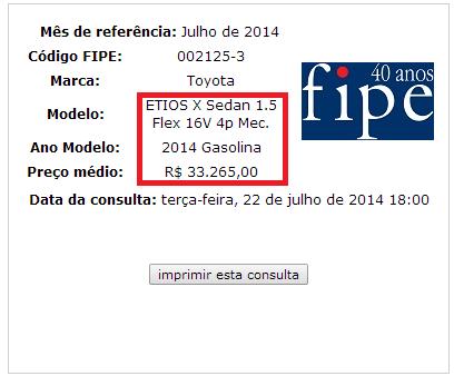 Tabela FIPE - Atenção e cuidados ao contratar um seguro para seu Etios! 2014