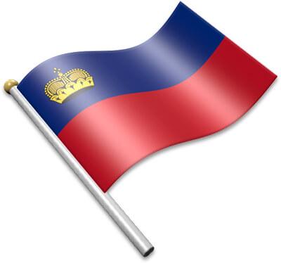The Liechtenstein flag on a flagpole clipart image
