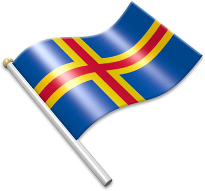 The Aland-Island  flag on a flagpole clipart image