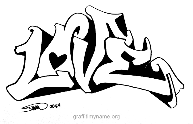 Word Love Graffiti Colouring Pages