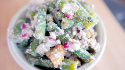 Recipe for Green Beans with Walnut and Feta and Mint Vinaigrette, an easy salad to serve cold or at room temperature for a potluck or get together that is vegetarian