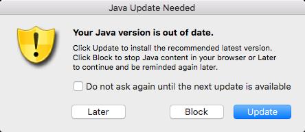 Javaのアップデート警告