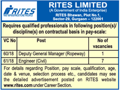 RITES Limited DGM, Engineer Advertisement 2018 www.indgovtjobs.in