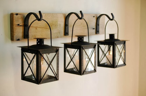 Hanging lanterns on hooks, black lanterns