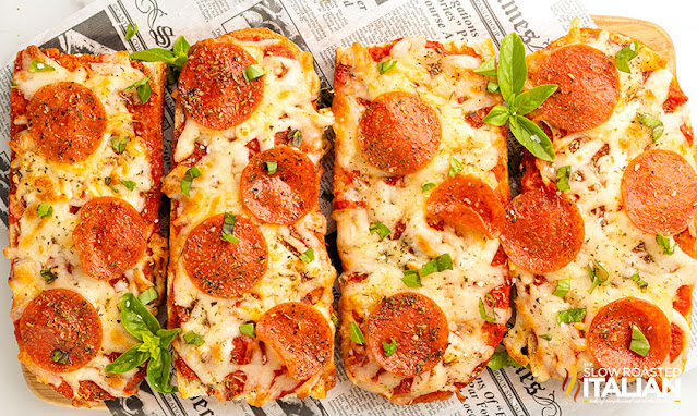 4 french bread pizza's side by side