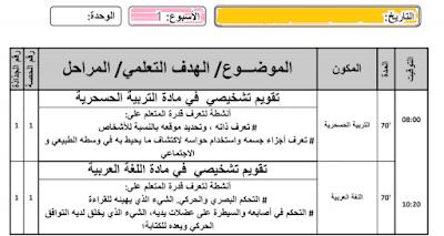 نموذج مذكرة يومية لمرحلة التقويم التشخيصي  pdf