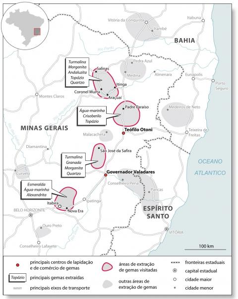 Mapa das pedras preciosas de Minas Gerais