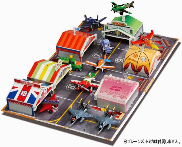 Trạm bảo dưỡng máy bay Planes Tomica bao gồm 6 chiếc lều xinh xắn đẹp mắt, là nơi dừng chân của các nhân vật máy bay trong phim