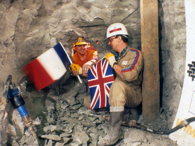 When both sides of the channel tunnel first met, 1990.
