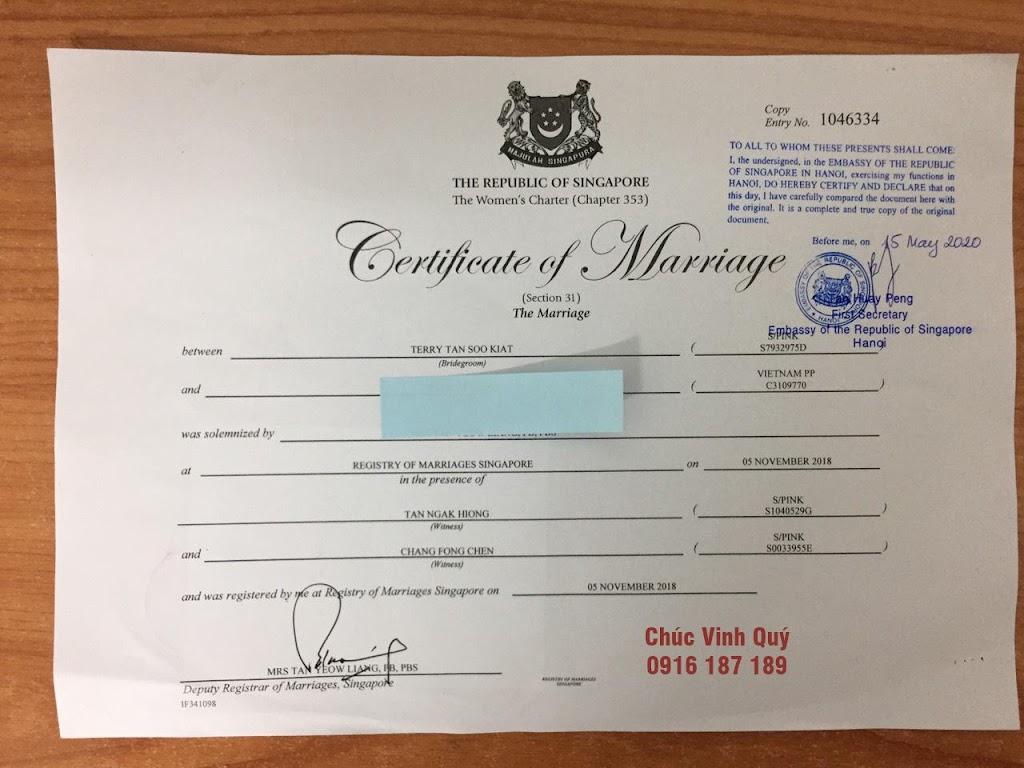 Chứng nhận sao y bản chính giấy đăng ký kết hôn của Đại sứ quán Singapore