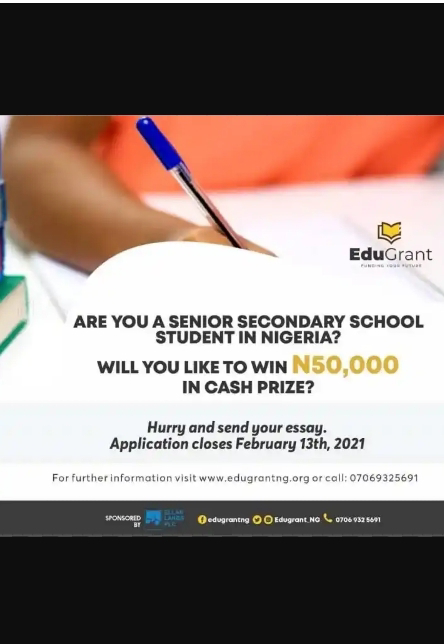 Edugrant 2021/2022 Essay competition for secondary school students