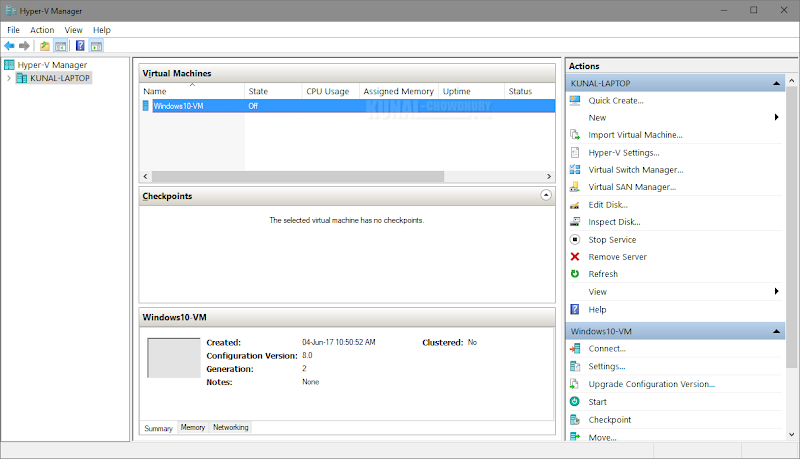 Hyper-V Manager dashboard listing your newly created VM (www.kunal-chowdhury.com)