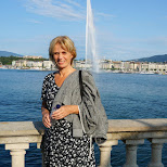 my mom infront of jet d'eau in Geneva, Geneva, Switzerland