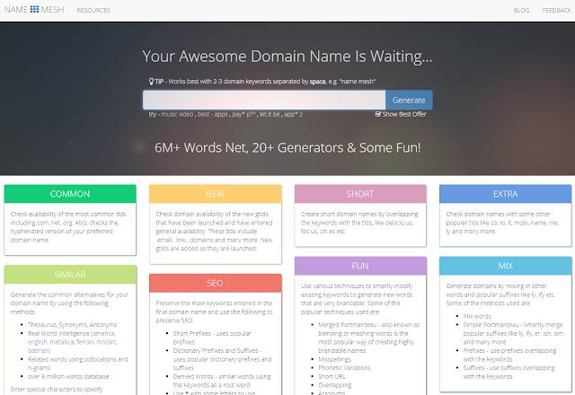 Site gerador de dominios para sites