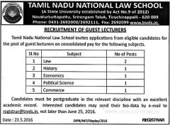 TNNLS Guest Lecturers Jobs 2016 indgovtjobs