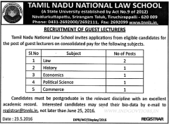 TNNLS Guest Lecturers Jobs 2020 indialjobs