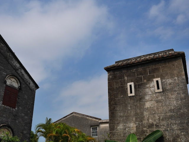 blue sky above a tower near the former residence of Sun Yat-sen in Cuiheng, Zhongshan