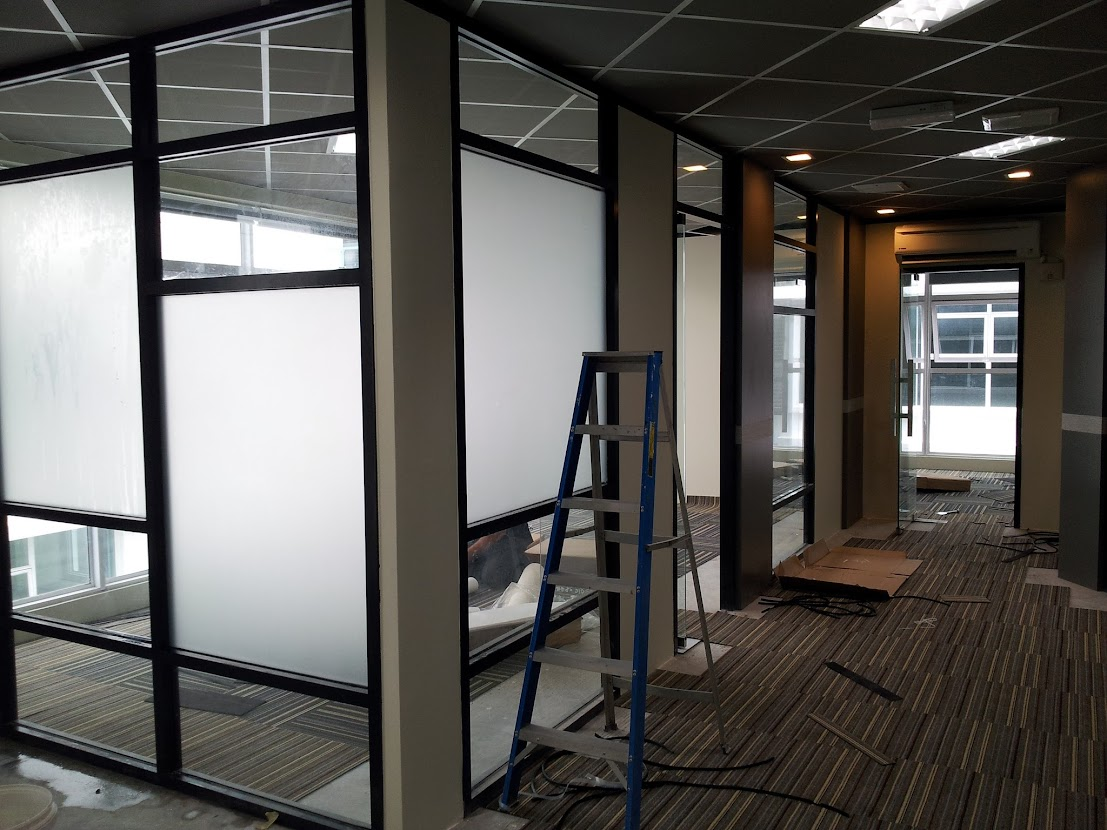 frosted film in glass partition