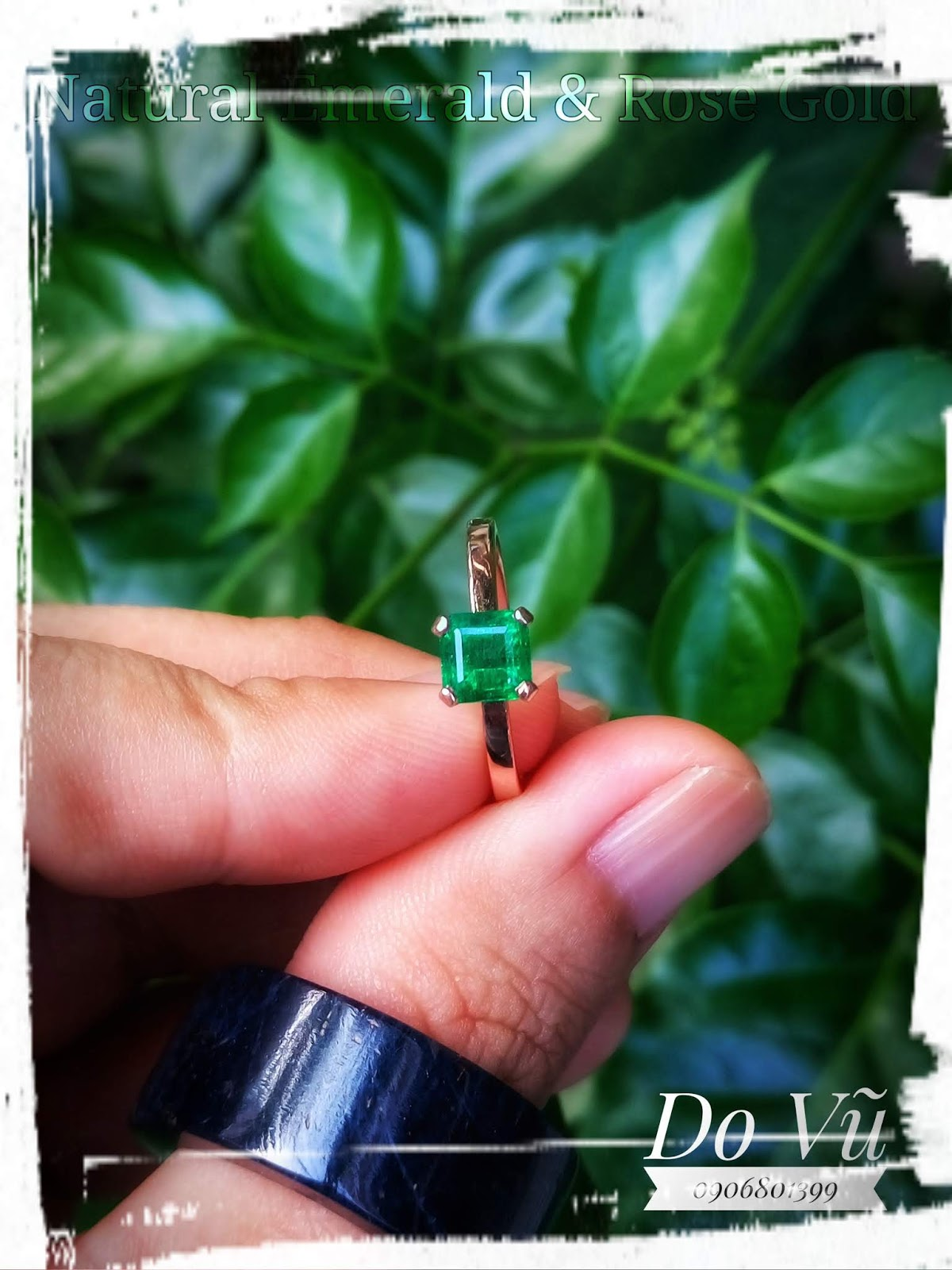 Nhẫn đá quý Ngọc Lục Bảo thiên nhiên, Natural Emerald Colombia xanh nước nhất & vàng hồng(18/04/20, 01)