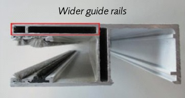 Wider guide rails now 110mm, not 100mm wide