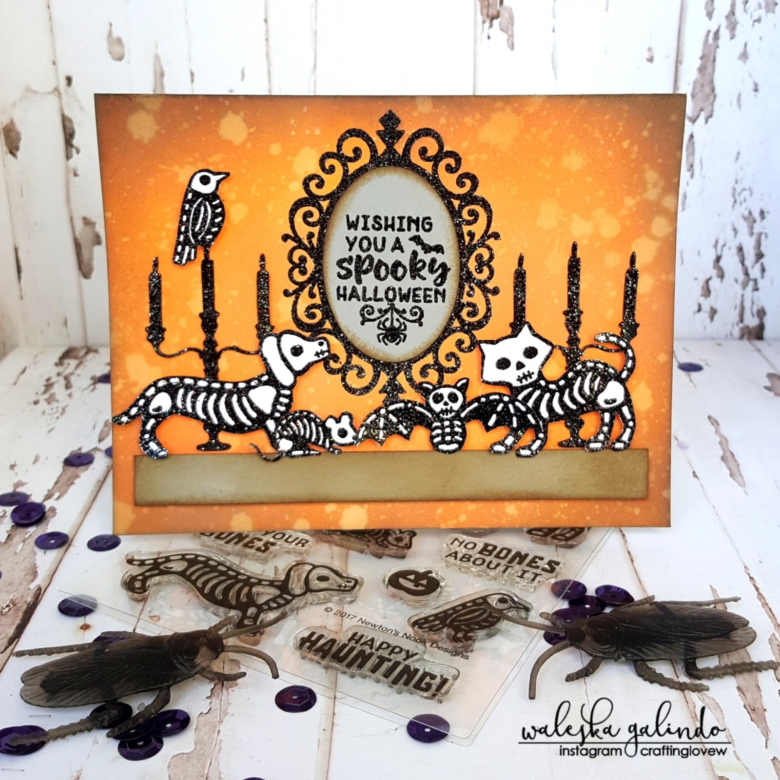 Spooky Halloween Wishes by October Guest Designer Waleska Galindo | Spooky Skeletons and Creepy Cameo Stamp Sets by Newton's Nook Designs #newtonsnook