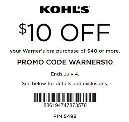 $10 Off $40 Warner's Bra - Kohl's coupon