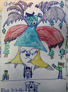 Elementary art student drawing of a purple people eater