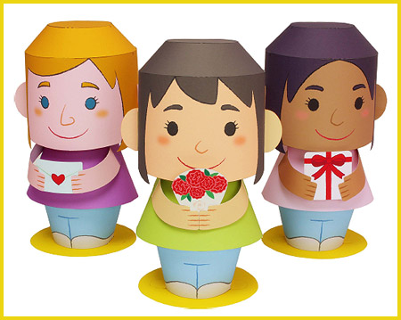 2012 Mother's Day Papercraft Message Dolls