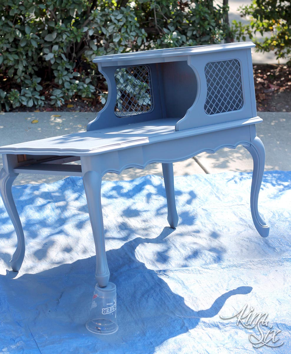 Painting end table blue
