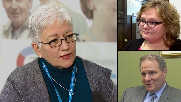 Vickie Kaminski (left) resigned as CEO of Alberta Health Services because of what she said was unacceptable political interference from Health Minister Sarah Hoffman and deputy minister Carl Amrhein.