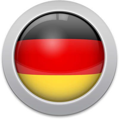 German flag icon with a silver frame