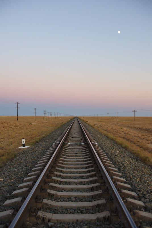 Somewhere at the end of this railroad, 500 kilometers away was the Caspian sea.