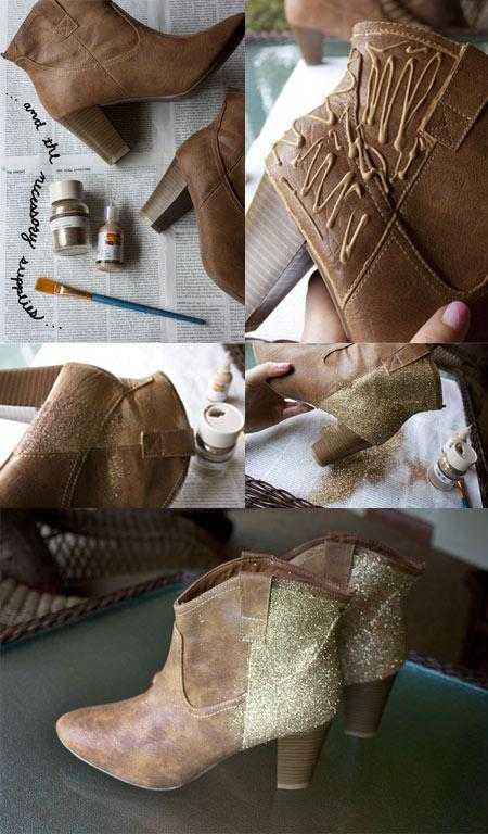 Customização de bota com glitter